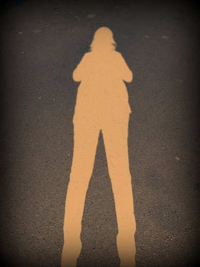 This is a self pic of my shadow, I edited by using film grain, vignette, drop shadow and I invert...