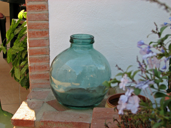 green glass bottle gift friend garden home Alora malaga andalucia spain