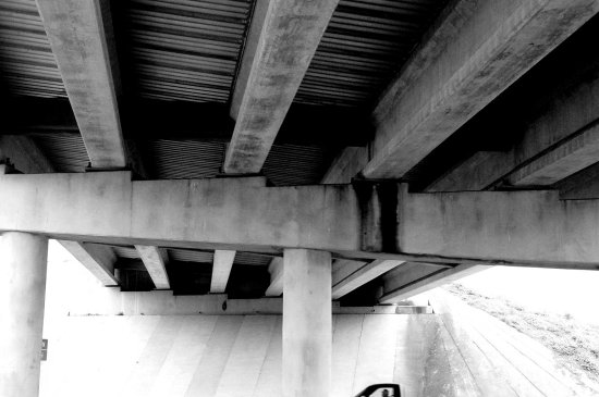 bridge overpass blackandwhite highway cars
