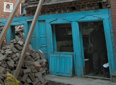 old bhaktapur nepal reconstruction shop
