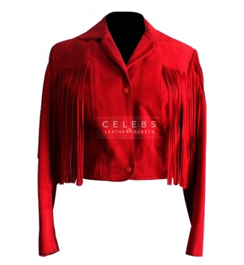 Women Suede Fringe Red Motorcycle leather jacket