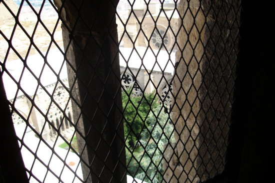 cloister from tower bell of cathedral seu vella