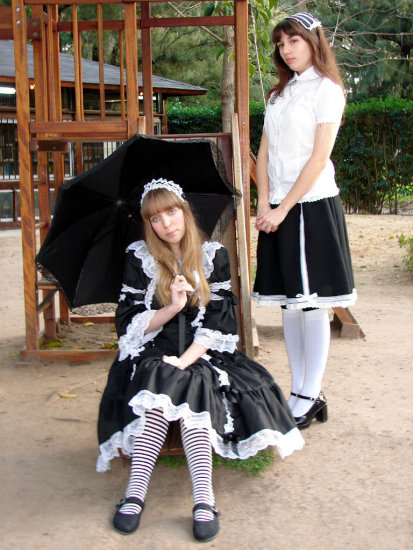 stripes umbrella lolita gothic