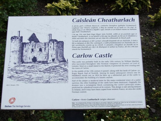 ireland carlow architecture townscape castle plaque