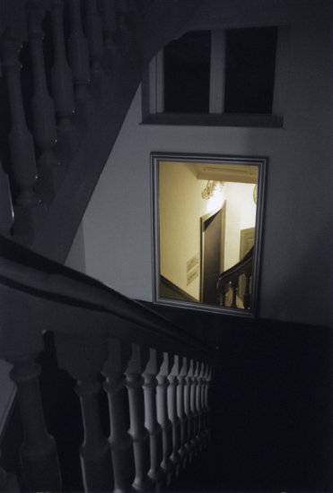 castle stairs mirror night