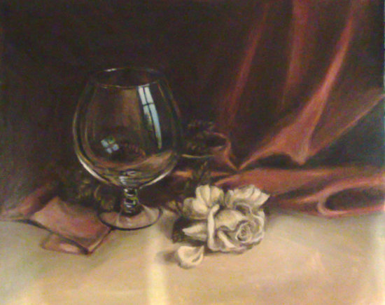 glass rose painting oil reflection
