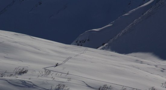 Backcountry skiiers in Turn again Pass