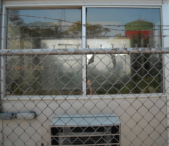 window chainlink fence reflection