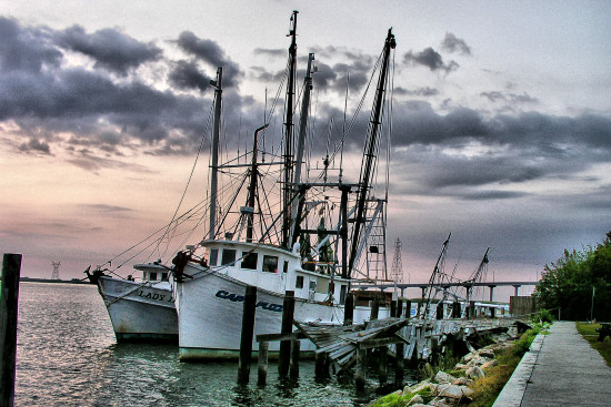 Sunrise and shrimp boats.  Apalachicola, Florida