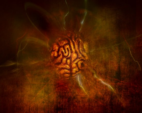 human brain abstract art series red lightning hell dark light manipulation keit