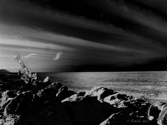 Blackandwhite BW silhouette landscape seascape light clouds sky