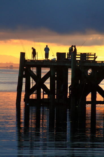 sunrise pier fisherman