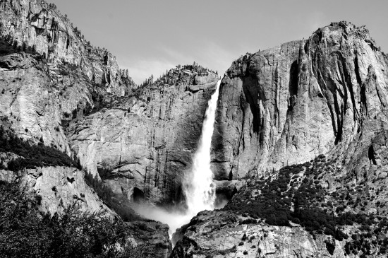 Yosemite California waterfall black and white