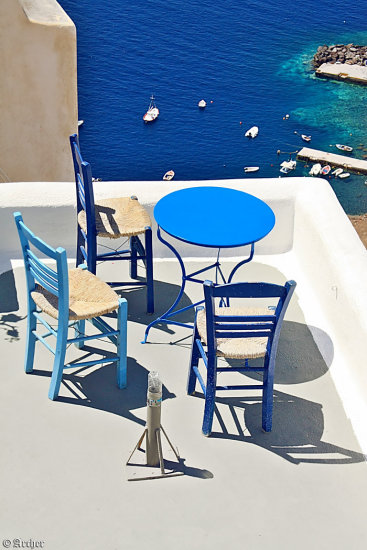 terrace view chairs shadow santorini archer