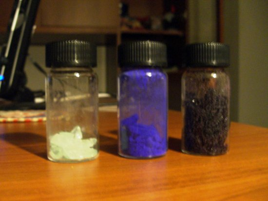 Here there are some chemical compounds I synthetized last year. I kept them since I like the colo...