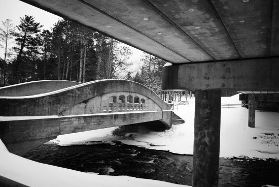 Bridge under concrete black white water snow winter