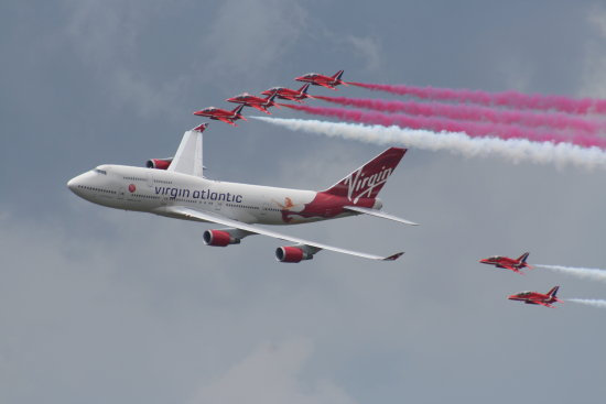 Biggin Hill 2009 Red Arrows Boeing 747 Virgin Air Display