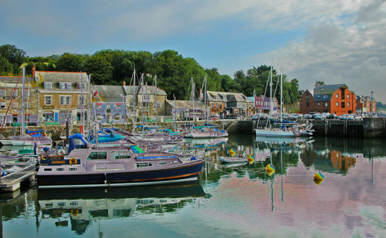 7866 Manipulated Cornwall Padstow UK Boat sea Coast Harbour Moored Quey