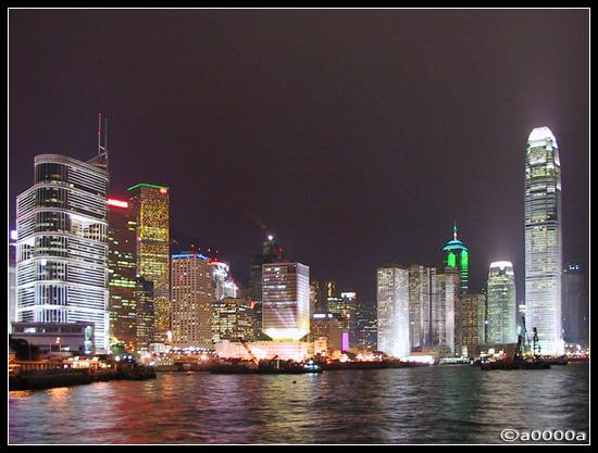 hongkong night lights harbour harbor