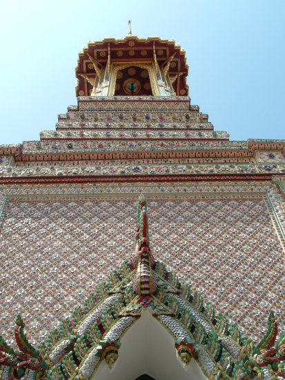 Small tile adorning the Wat Phrakaew Temple walls Bangkok Thailand