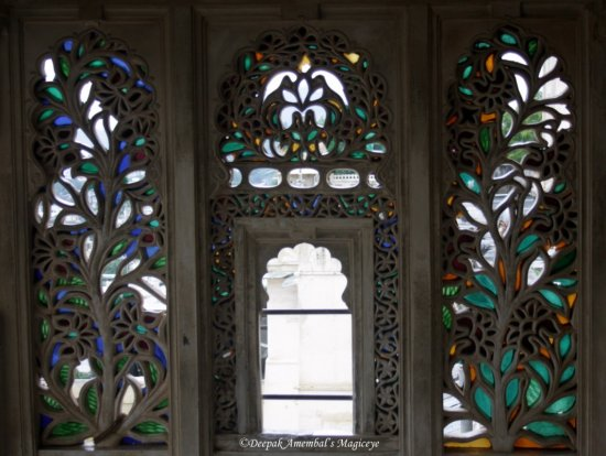 window stained glass city palace udaipur rajasthan india