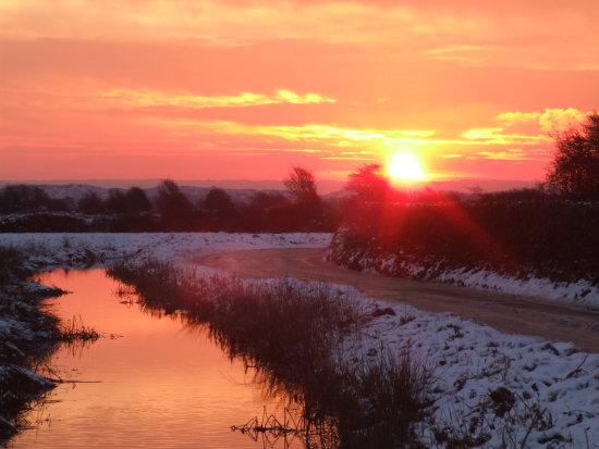 Saunton Dunes Devon Braunron sunset Snow December