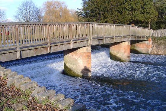 wooden bridge water fall bedford england