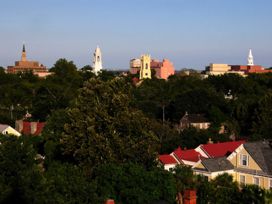 The view from the coupula of the Wentworth Mansion in Charleston South Carolina