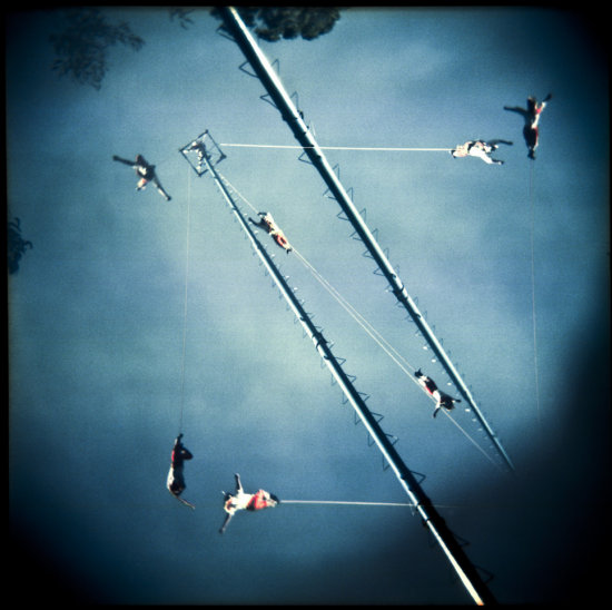 holga color street folklor mexico tradition voladores double exposure
