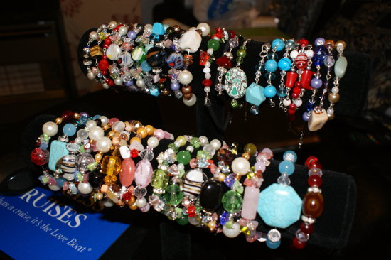 jewelry display bracelets natural stones glass murano jade precious