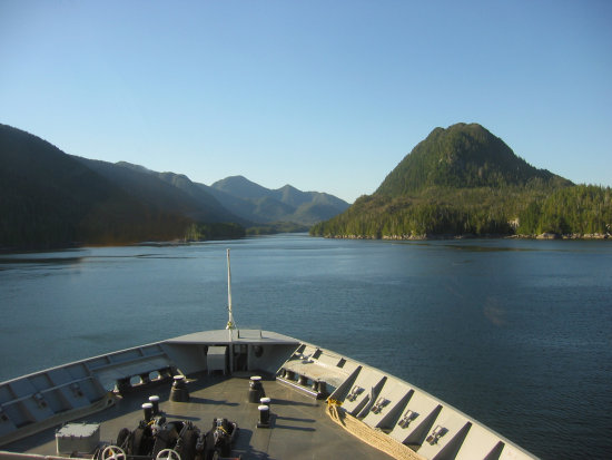 boat passage water mountains