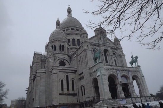 france sacre coeur montmatre church hill snow paris churchsunday