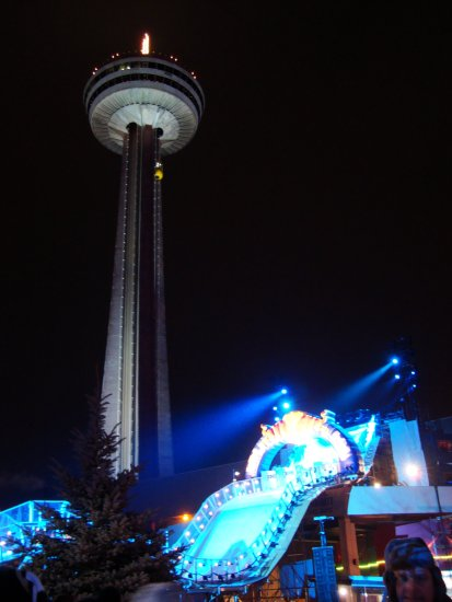 At 6:39pm.Before it stated for at about 7:30pm-down by the Skylon Tower-At Niagara Falls,Ont.,On ...