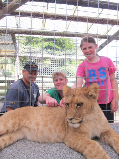 I got to pat a lion cub!!!