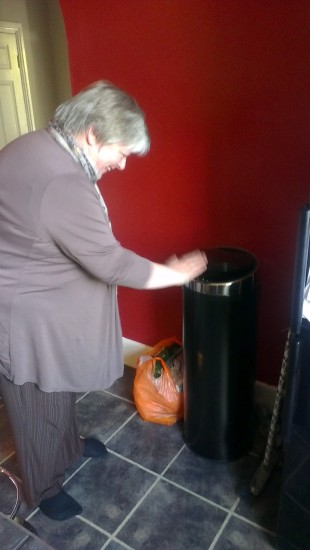 Why is Sheila waving at our friend's kitchen bin?