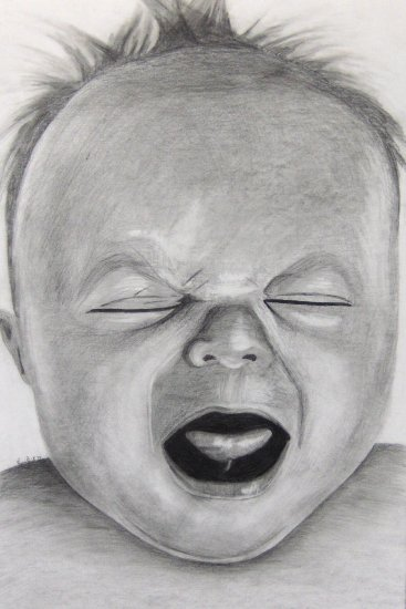 baby drawing crying art