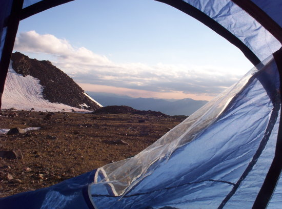 looking out the door of our tent at 10,000ft above sea level, Mt ...