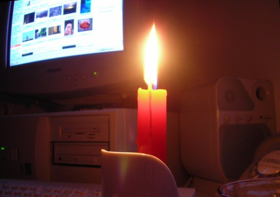 what to shoot these dark days here?.....  the candle in front of the computer...:)