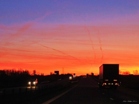 Sunset Evening Highway Sweden Skane Colorful Sky 2011 November