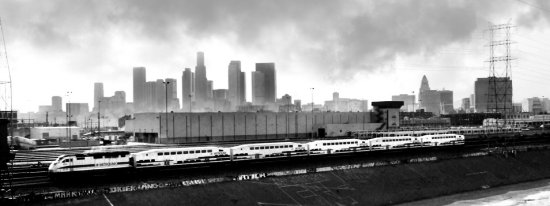 Los Angeles train black and white