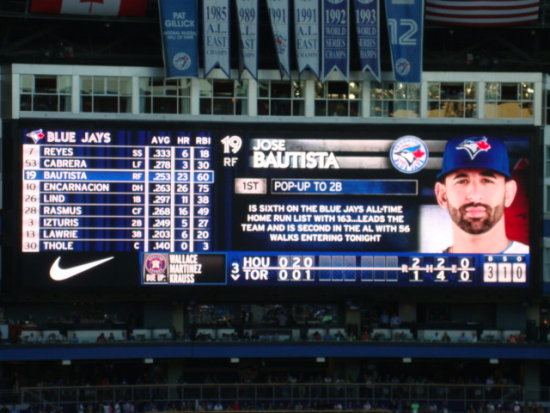 At 7:58pm.At Bottom of 3rd Inning-Jose Bautista-Rogers Centre-Toronto,Ont.,On Friday,July 26,2013