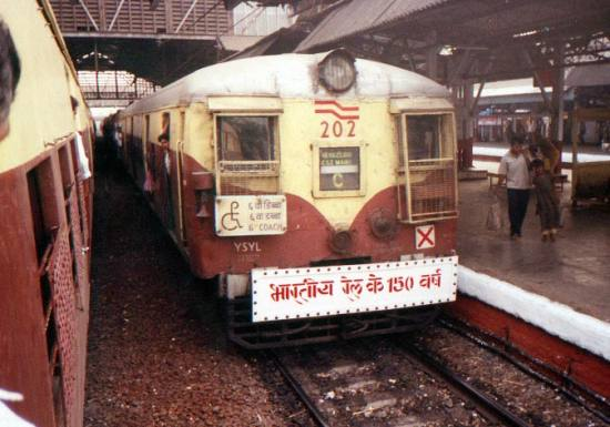 celebrating 150 years of Indian Railways-local train at Mumbai station