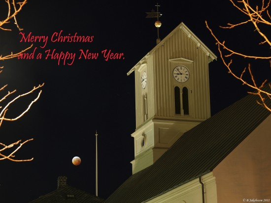 e620 christmas card church lunar eclipse reykjavik Iceland