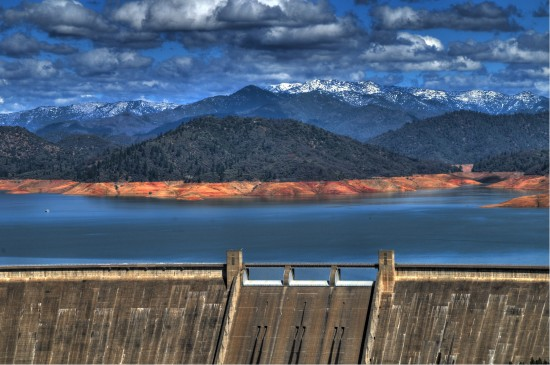 hdr shasta lake dam sky clouds