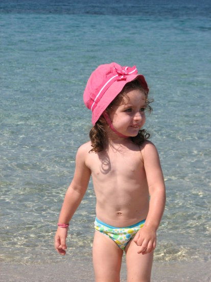 baby giulia sea sunshine pink hat portrait