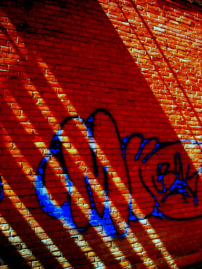 light brick urban graffitti shadow