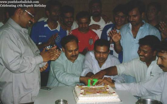 birthday cake candle youth football club mirpur ajk soccer celebration smile