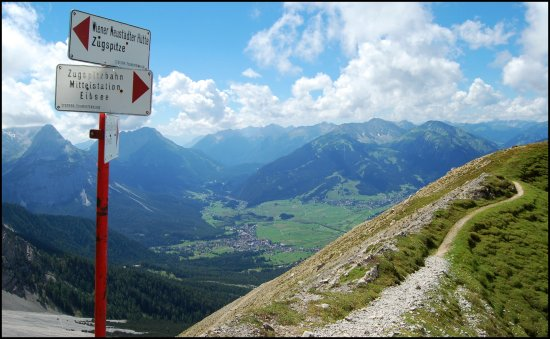 mountains sign mark alps alpen way to and from zugspitze bavaria germany