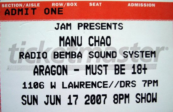 Manu Chao Ticket