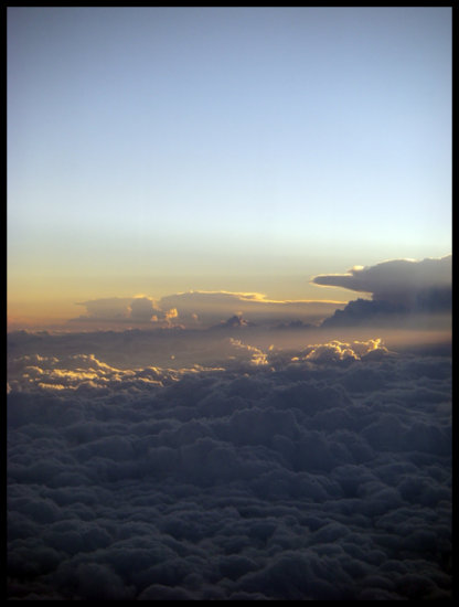 Air plane view clouds sun rays